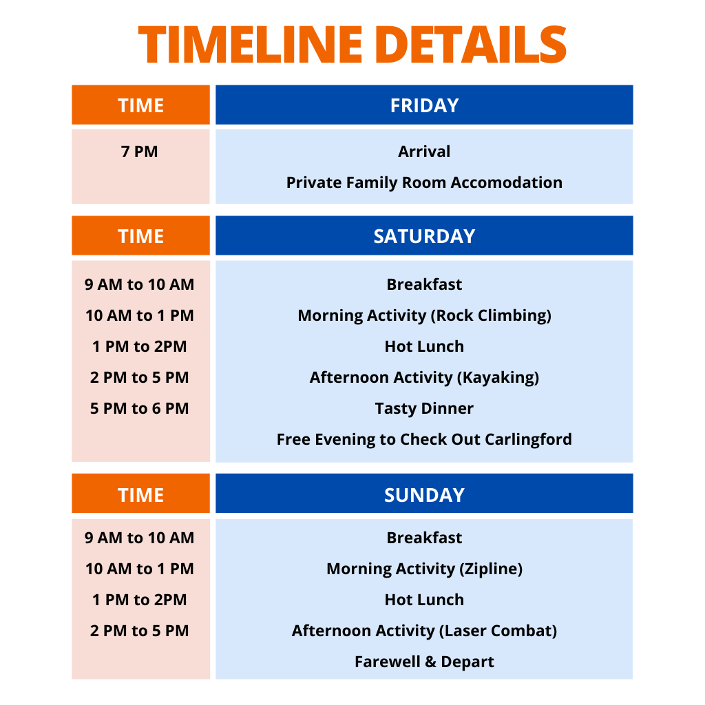 Activity Schedule at Carlingford Adventure